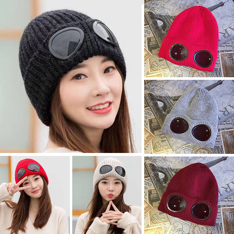 Double-use Thickened Autumn Winter Knitted Hat for Men Women Warm   Beanies     Skullies   Ski Cap with Removable Glasses