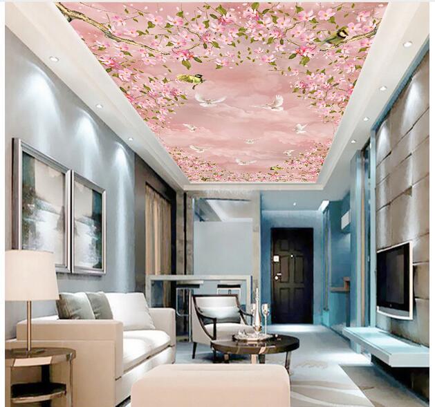 Custom photo background 3d ceiling murals wallpaper Non woven cherry ...