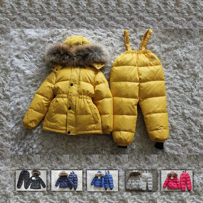 Winter Children Turtleneck Snow Wear Baby Down Coats Jumpsuits Natural Fur on HatWinter Children Turtleneck Snow Wear Baby Down Coats Jumpsuits Natural Fur on Hat