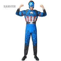 DJGRSTER Christmas Boys Muscle Super Hero Captain America Costume Avengers Costumes Cosplay For Boy Classic Muscle