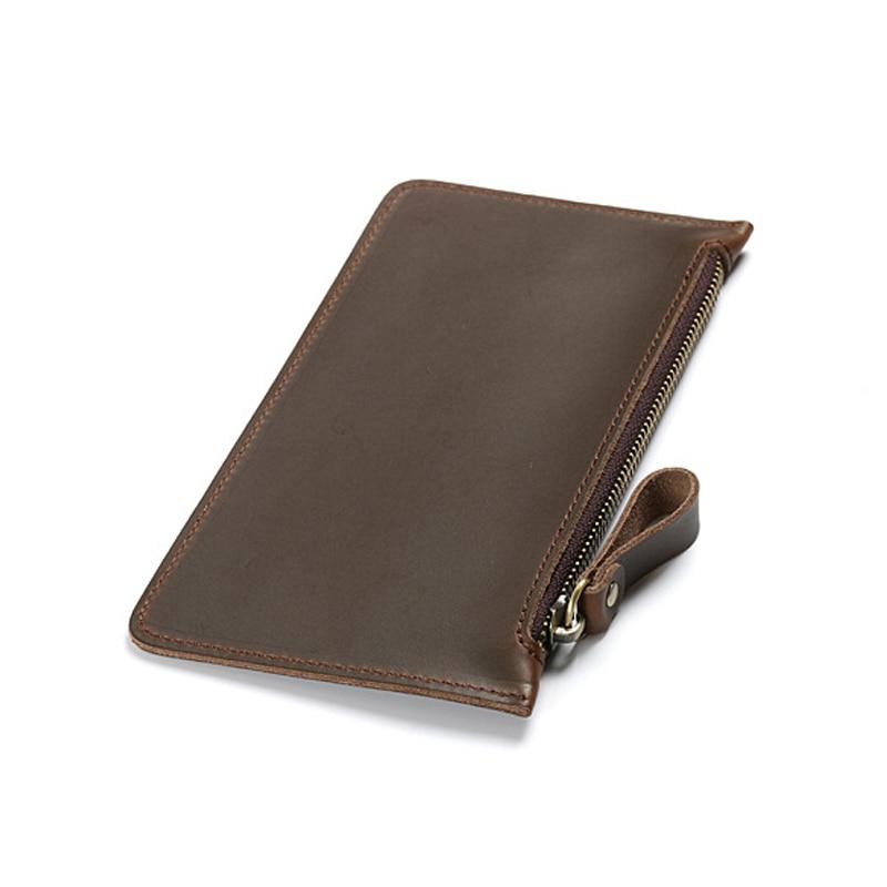 Portefeuilles hommes en cuir véritable portefeuille solide avec poignet
