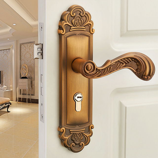 Bearing Antique Door Lock European Door Lock Bronze Classic Interior  Bedroom Handle Lock - Bearing Antique Door Lock European Door Lock Bronze Classic Interior