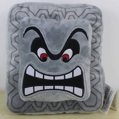 Thwomp Dossun Stuffed Animal Pillow Super Mario Plush Cushion Cuddly Doll Home Textile