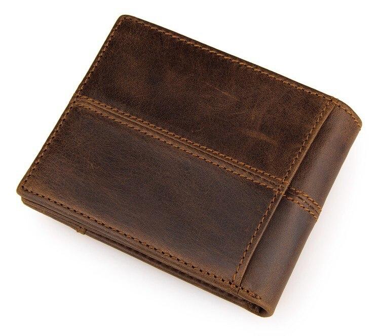 Vintage Casual Men wallets Crazy Horse Genuine Leather Cowhide Men Short Bifold multi function card holder
