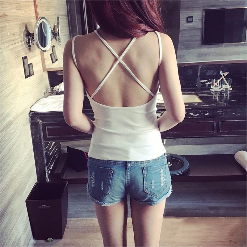 <font><b>Sexy</b></font> Women Summer Back Cross Strap Tank Top Camisole Padded Vest Night Club Tops TY66 image
