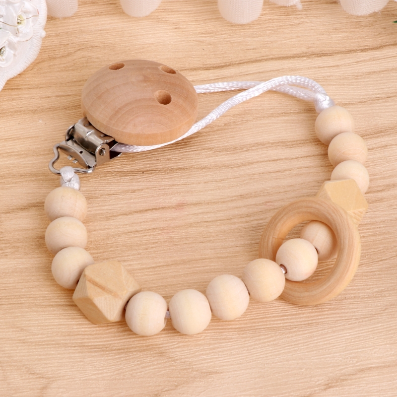 Cute Baby Toddler Dummy Pacifier Soother Nipple Wooden Chain Clip Holder Gift  Gift
