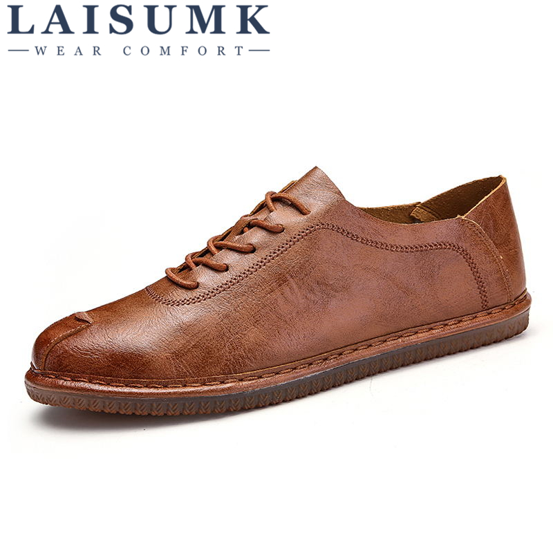 2018 LAISUMK British Lace up Men Loafers Genuine Leather Men Shoes Luxury Brand Soft Boat Driving Shoes Comfortable Men Flats kerst navidad 2017 halloween haunted house supplies bar ktv decorative props tricky toys luminous spider web 142g