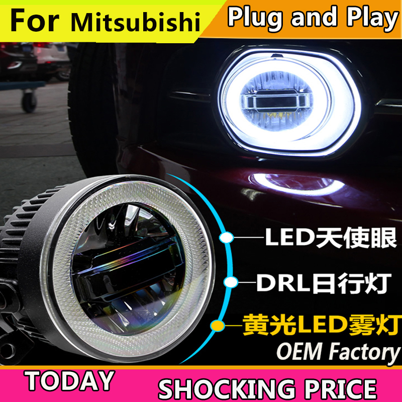 Car Styling for Mitsubishi Outlander Pajero Grandis ASX LED Fog Light Auto Angel Eye Fog Lamp LED DRL 3 function model for mitsubishi l200 outlander 2 pajero 4 grandis 2003 2015 car styling angel eyes drl led fog lights 9cm spotlight ocb lens