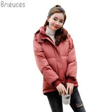 Brieuces Winter Jacket Women Cotton Padded Short Jacket 2018 New Thick Hooded Warm Winter Parka Coat Female Autumn Outerwear цена в Москве и Питере