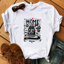 2019 Womens Clothing Summer Top Graphic Animal White T shirt Home is Where The Cat Harajuku Kawaii  Streetwear Modis Tees