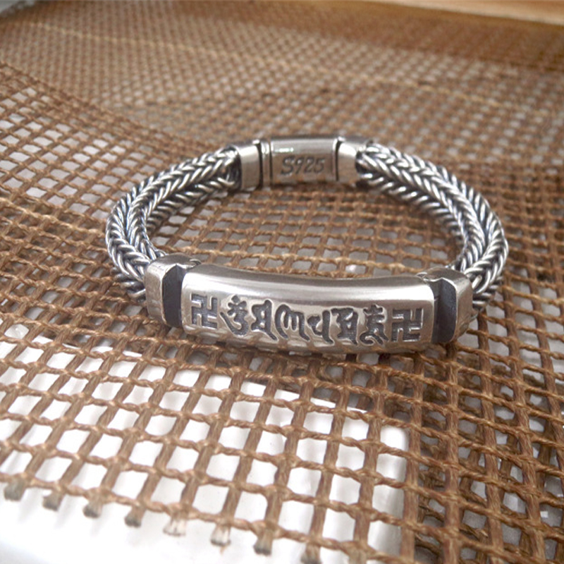 Hand-woven Personality Bracelets 100% S925 sterling silver Six Words Mantra men Bracelet Vintage Punk Thai silver Fine JewelryHand-woven Personality Bracelets 100% S925 sterling silver Six Words Mantra men Bracelet Vintage Punk Thai silver Fine Jewelry