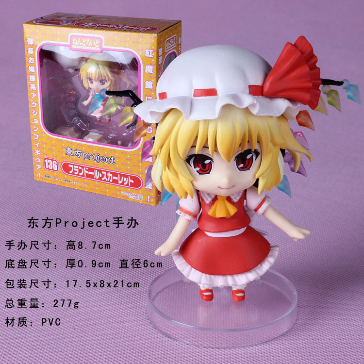 Free Shipping Cute 4 Nendoroid Touhou Project Flandre Scarlet PVC Action Figure Model Collection Toy #136 MNFG036 free shipping nendoroid 4 cute kantai collection shimakaze pvc mini action figure toy doll 371 mnfg063