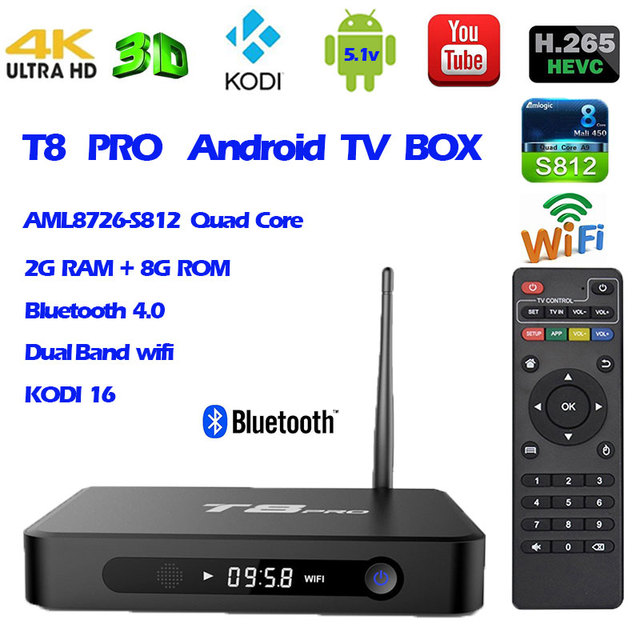 4kK T8 Pro Android TV Box Amlogic S812 Quad Core 2G/8G suporte Airplay DLNA IPTV HEVC KODI Smart Set top Box Mídia jogador