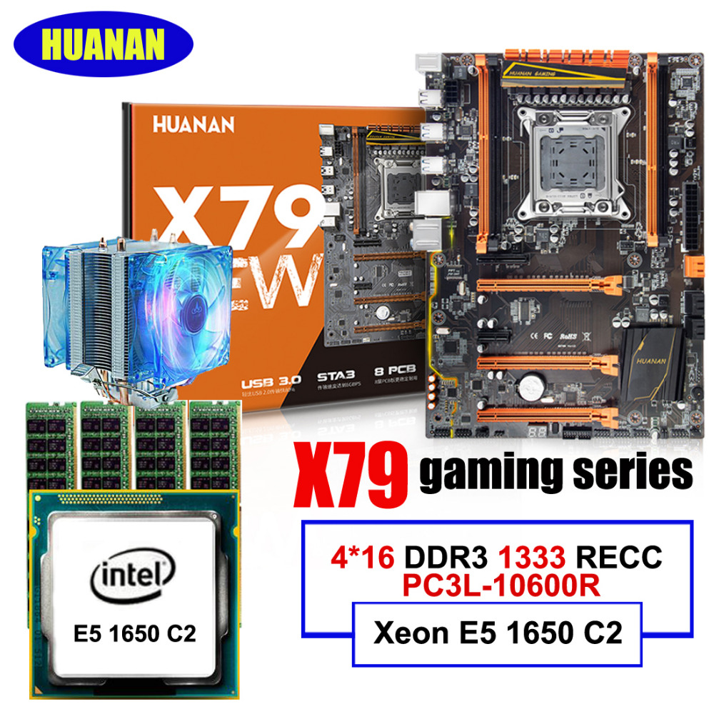 Best seller HUANAN deluxe X79 LGA2011 motherboard CPU RAM set Xeon E5 1650 C2 with CPU cooler RAM 64G(4*16G) DDR3 1333MHz RECC термосумка thermos e5 24 can cooler 19л [555618] лайм