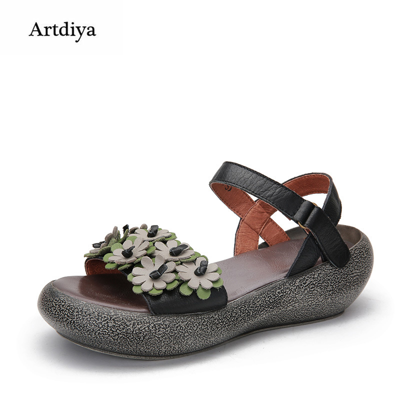 Здесь продается  Artdiya Original Summer New Flower Women Shoes Retro Genuine Leather Buckle Handmade Sandals Flowers Soft Sandals 6320-06  Обувь