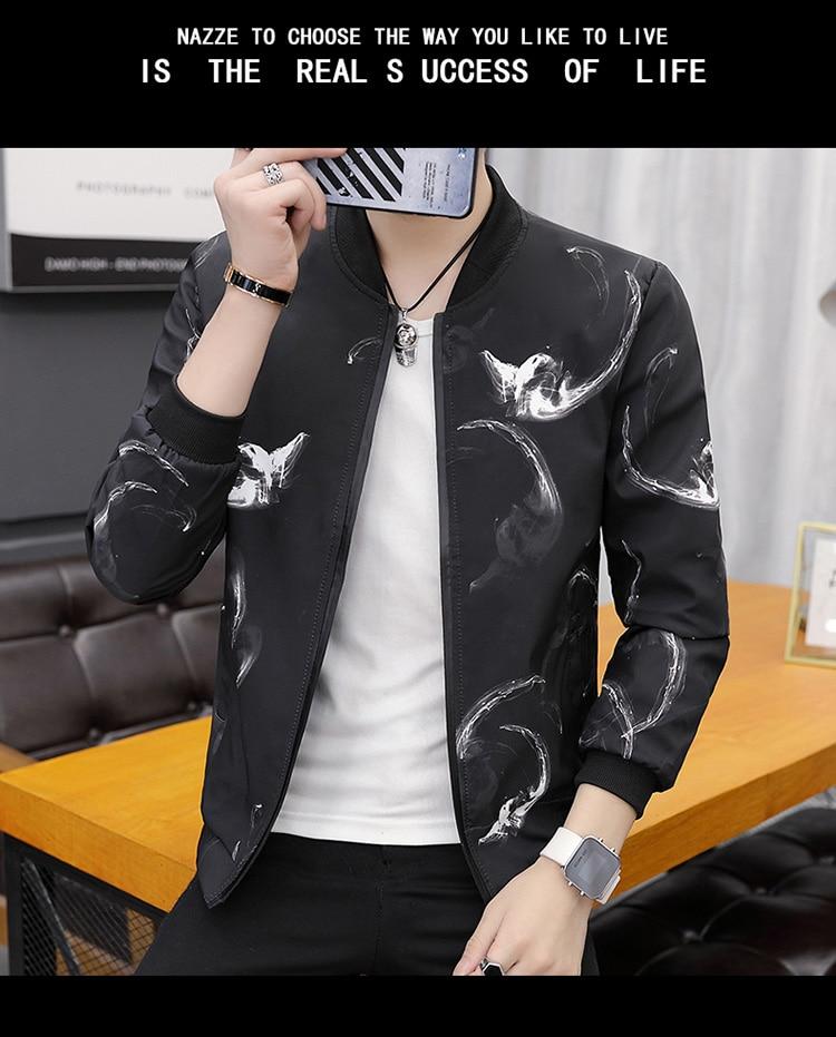 Printing Fashion 2019 Brand Mens Bomber Jacket Thin Men Baseball Jackets Casual Jacket Coat Overcoat For Male Clothing