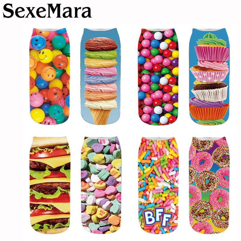 SexeMara New Fashion Chocolate Fruit Ice Cream Burger Printing Socks Unisex Women Men Novelty Style Print Child Sock 5QRVB170