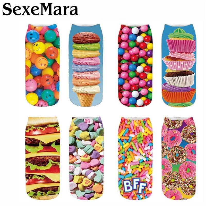 SexeMara New Fashion Chocolate Fruit Ice Cream Burger Printing Socks Unisex Women Men Novelty Style Print Child Sock 5QRVB170