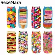 SexeMara New Fashion Chocolate Fruit Ice cream Burger Printing Socks Unisex Wome