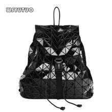 WSYUTUO ขายร้อน Geometric Diamond Folding กระเป๋าเป้สะพายหลังแฟชั่นกระเป๋าสะพายนักเรียนโรงเรียนกระเป๋าโฮโลแกรมกระเป๋าเป้สะพายหลังผู้หญิง