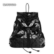 WSYUTUO Heißer Verkauf Geometrische Diamant Klapp Mode Schulter Rucksack Umhängetasche Student Schule Taschen Hologramm Frauen Rucksack