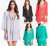 New Arrival Sexy Easy Women Casual Lace Hollow Out Turquoise Loose V Neck Beach Dress Cotton