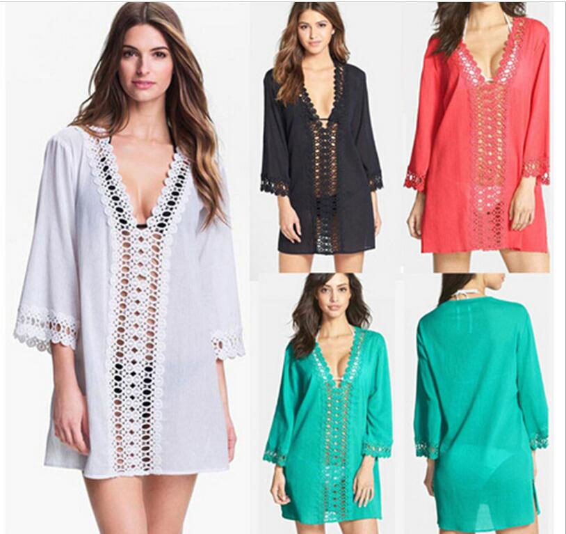 new arrival sexy easy women casual lace hollow out turquoise loose V-Neck beach dress cotton summer wearring