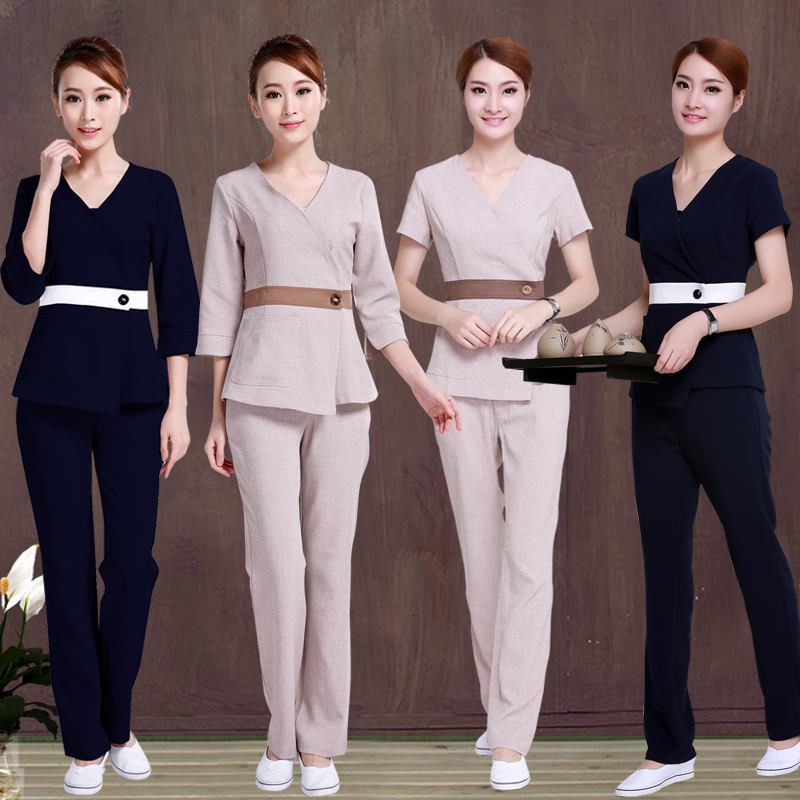 (10 Set/lot)SPA Health Pedicure Clothing Overalls Short-sleeved Summer And Fall Beautician Cultivate One's Morality Pants Female