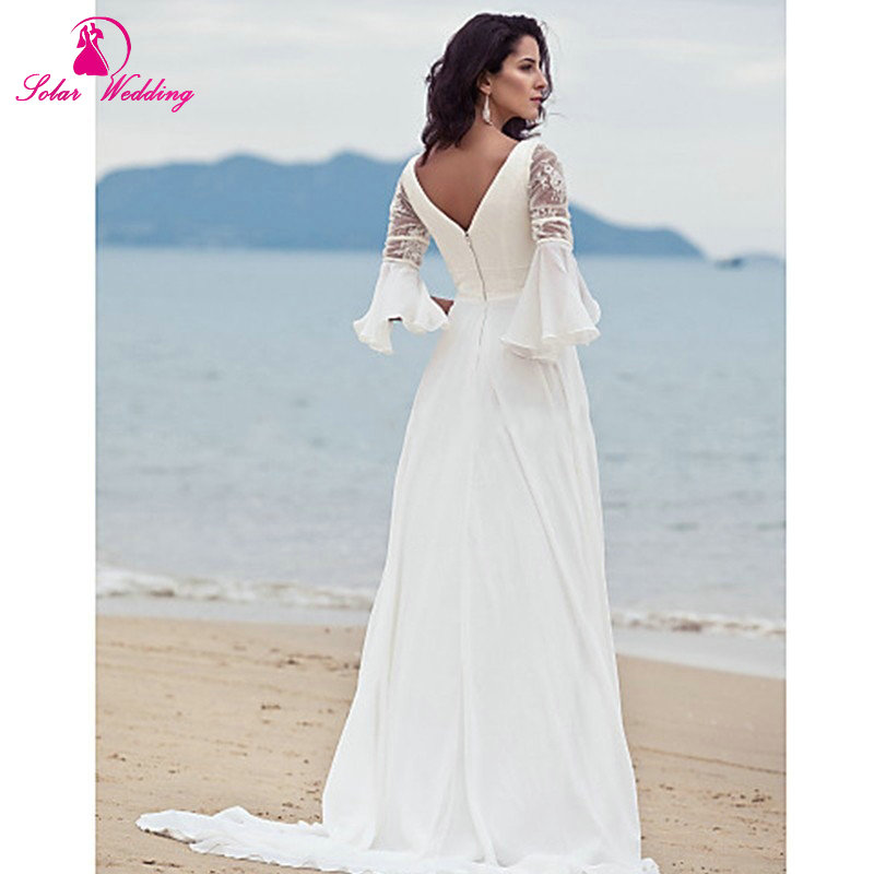 New Arrival White Simple Elegant bohemian style Bride gowns V neck ...
