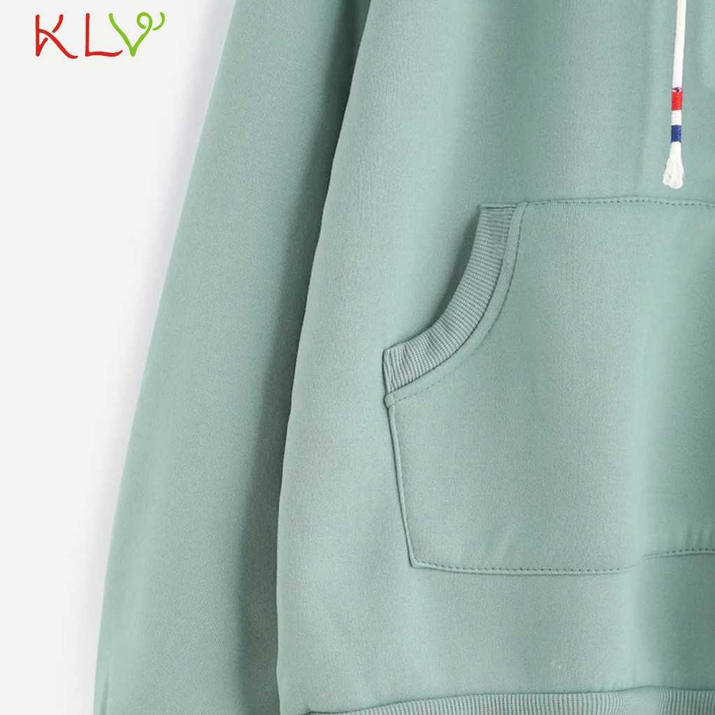 Women Sweatshirt Velvet Hoodies Casual Long Sleeve Green Pullover Winter Fashion 2019 Plus Size Jacket Streetwear Korean 19Jul