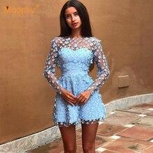 2020 ฤดูร้อนใหม่Elegantผู้หญิงMini Dress Sky Blue Beigeสีชมพูแขนยาวลูกไม้ชุดคำคนดังชุดราตรีvestidos