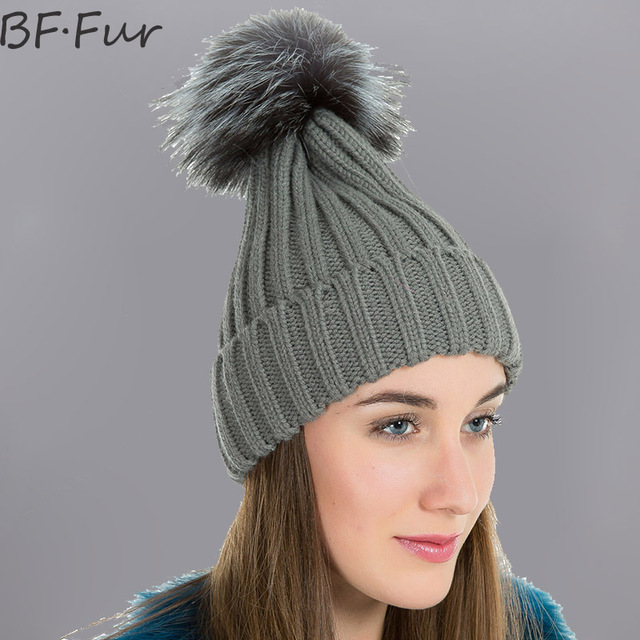 5424e820142 BFFUR Real Fox Fux Beanies Hats For Women Adults Bonnet Ladies Casual  Natural Color Animal Fur Pompom Cap Solid Warm Winter Hats