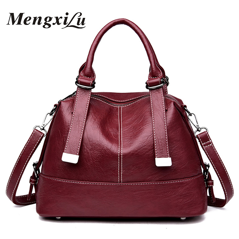 все цены на MengXiLu Brand Fashion Women Bags Female Shoulder Bag Soft PU Leather Women Handbags Boston Messenger Crossbody Bags Sac A Main онлайн