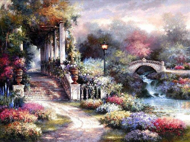 ჱEnvío libre de Thomas agua puente casa paisaje lona impresiones ...