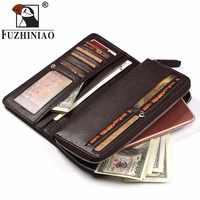 FUZHINIAO 100% Genuine Leather Wallet Money Clip Male Walet Fashion Male Purses Portemonnee Long Phone Wallets Man's Clutch Bags