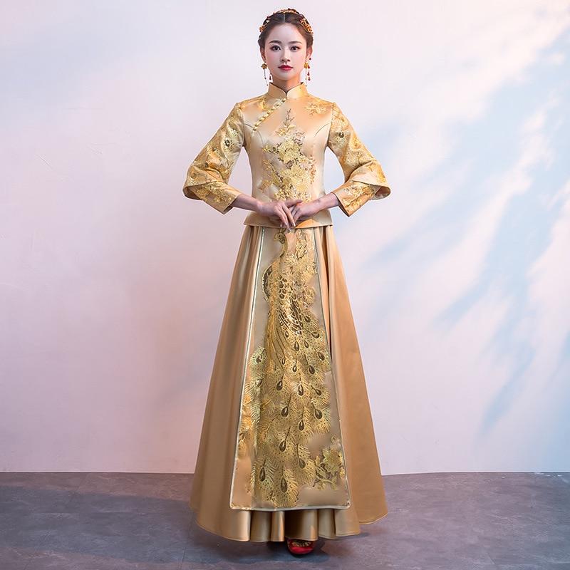 Noble Gold Women PEACOCK Flower Cheongsam Ancient Bride Wedding Dress Traditional Long Sheath Qipao Chinese Toast
