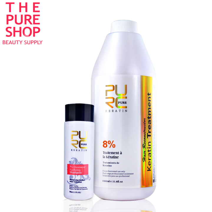 Pure keratin smoothing 8% formlain repair damaged hair and make hair smoothing and shine chocolate smell high quality-in Hair & Scalp Treatments from Beauty & Health