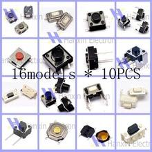 Gratis pengiriman 16 model 160 pcs taktil saklar Push button, Saklar mikro, Tombol mobil remote control Switch