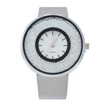 Girls Style Stainless Metal Quicksand Lovers Bracelet Watch Quartz WristwatchColour:Silver