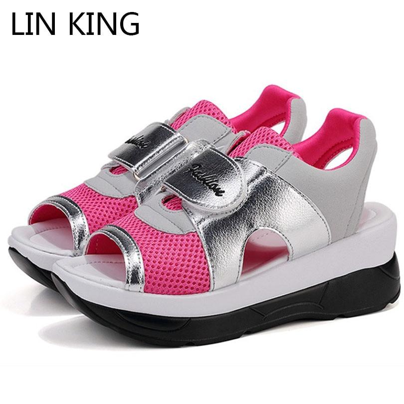 De 1 Verano Mujer Plataforma Transpirable Dedo Cuñas Swing Zapatos King  color color Del Transpirables Color La Sandalias ... e70b7f62950e
