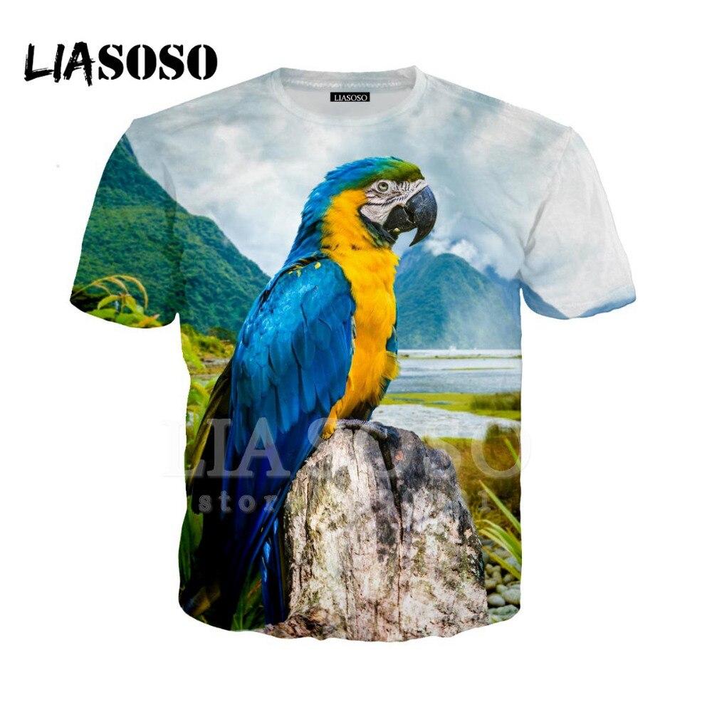 LIASOSO Neue Design Vögel Bunte Lustige Papagei T-shirt 3D Drucken Unisex Gute Qualität O Ausschnitt Cool Hispter Casual T Shirts tops A15