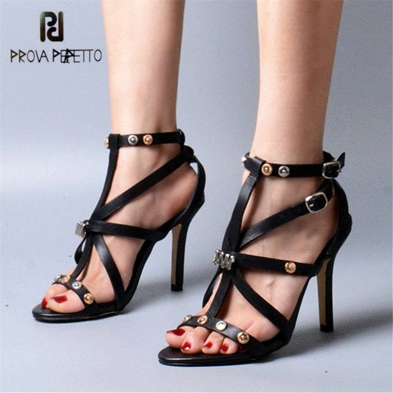 Prova Perfetto Designer Ankle Buckle Strap Women Gladiator Sandals Genuine Leather Thin High Heel Shoes Rivets Sandalias Mujer цены онлайн