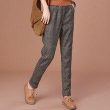 дешево!  Осень и зима женские плюс спортивные штаны теплые женские повседневные брюки большие решетки толсты