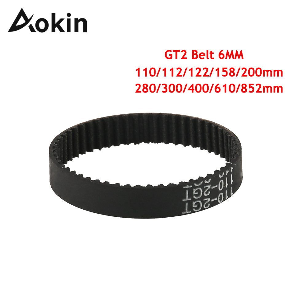 Aokin GT2 Belt 3d Printers Parts Closed Loop Timing Belts Gt2 6mm 110 112 122 158 200 280 300 400 610 852mm Synchronous Belt