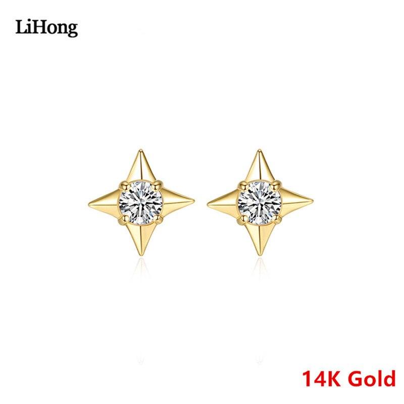 Étoile Design pur 14 k or boucles d'oreilles trèfle Zircon boucles d'oreilles haute bijoux boucles d'oreilles clou cadeau pour les femmes