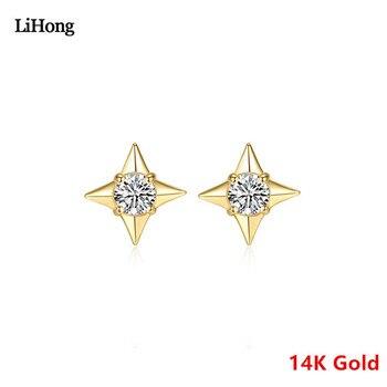 Star Design Pure 14k Gold Earrings Clover Zircon Earrings High Jewelry Earrings Nail Gift For Women