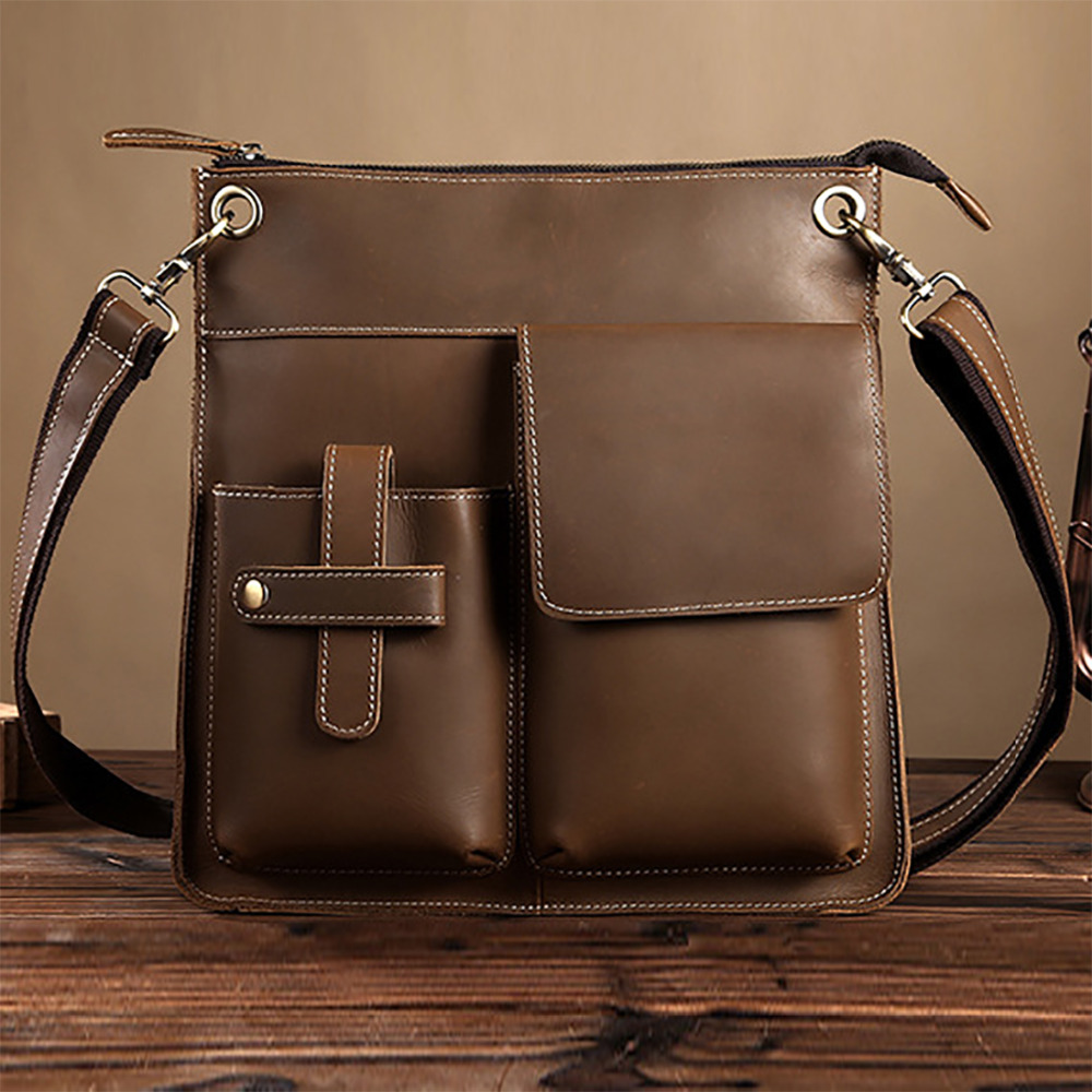 Crazy Horse Cowhide Genuine Leather Shoulder Bag Fashion Men Business Cross Body Messenger Bags Luxury Briefcase Tote Handbag hot sale women satchel bag genuine leather handbag famous brand fashion tote handbags crazy horse cowhide ladies shoulder bags