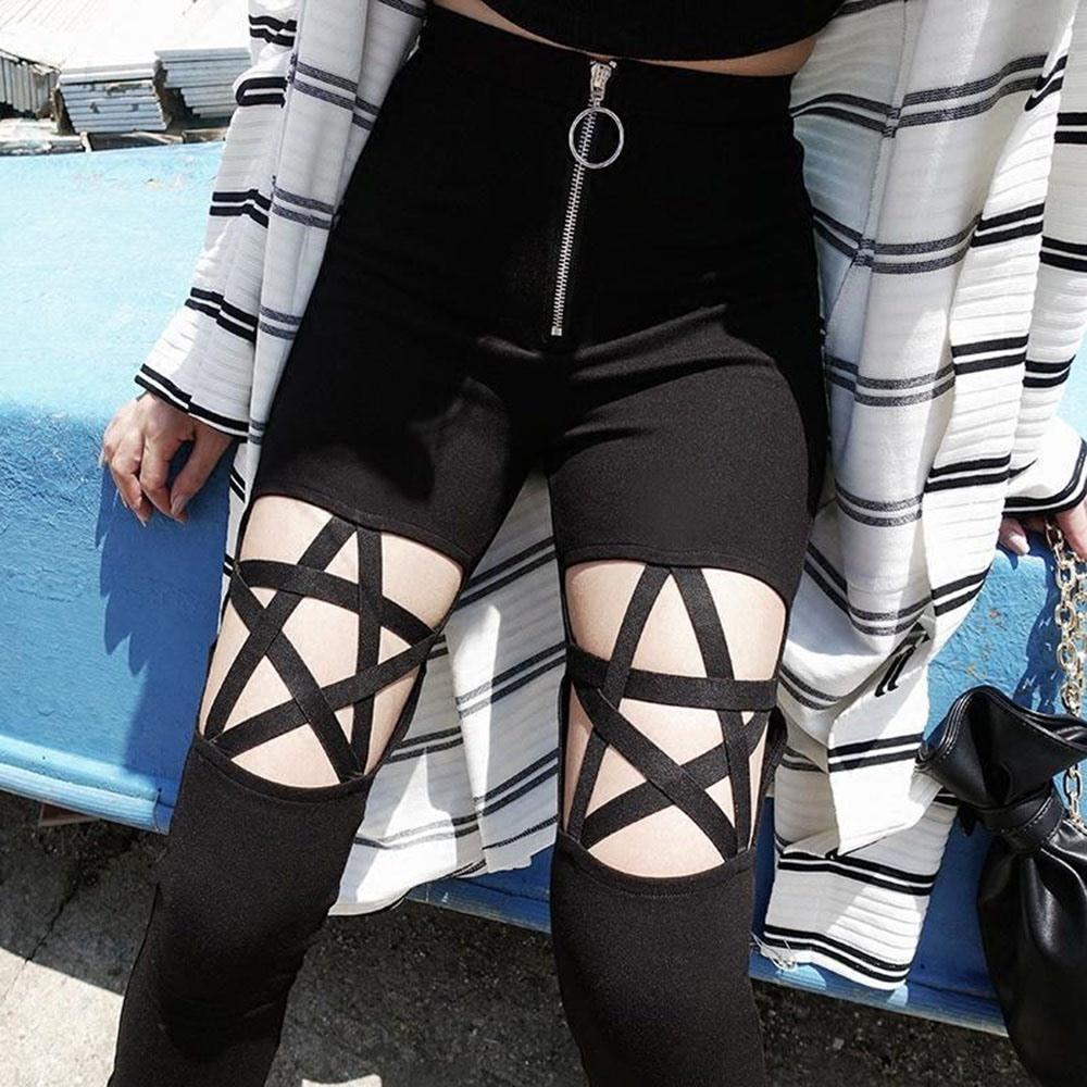 Rosetic Gothic Pants Hollow Out Pentagram Black Leggings Women Pencil Pants Slim Thin High Waist Zipper Plain Cool Sexy Pants