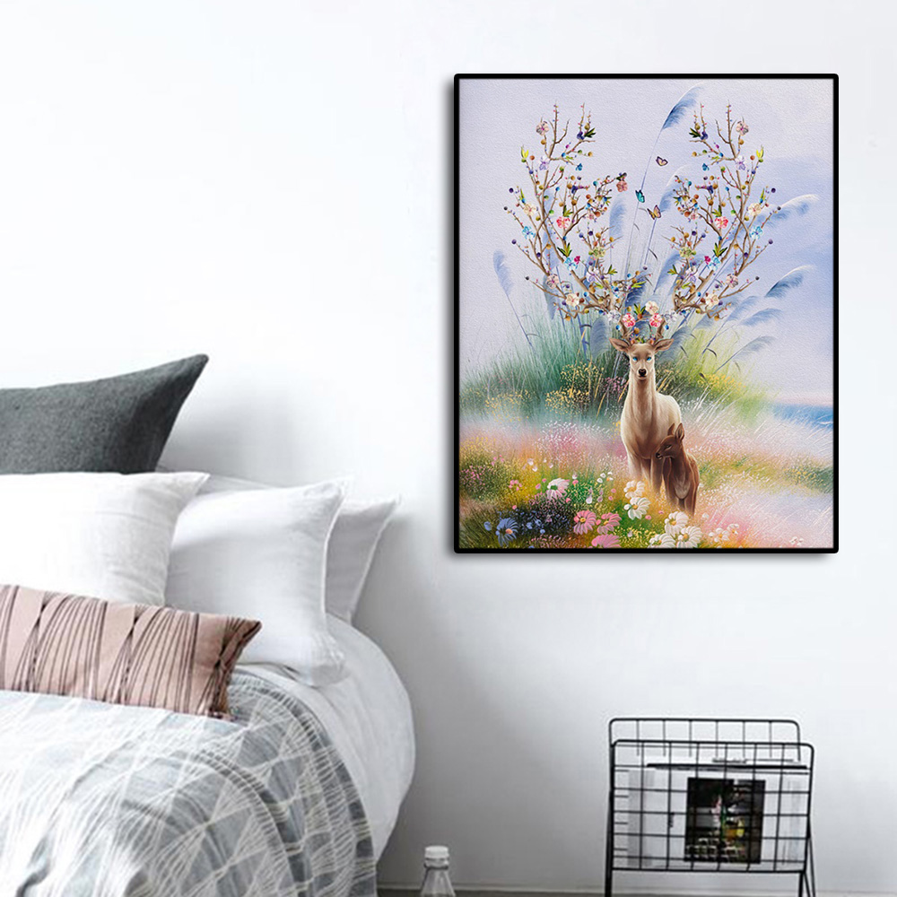 Watercolor Elk Decoration Canvas Prints Pictures Poster Canvas Painting Calligraphy For Bedroom Living Room Home Wall Decor Art in Painting Calligraphy from Home Garden
