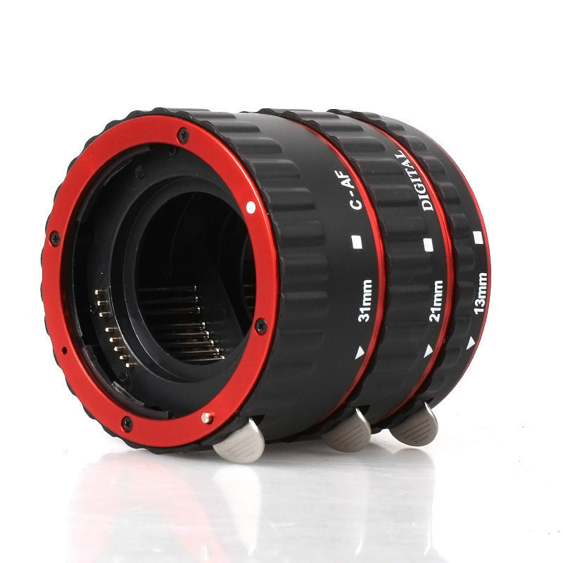macro ring Red Aluminum Alloy Electronic AF TTL Auto Focus Macro Extension Ring Tube For Canon 1000d 6d 7d 5dII 60d DSLR Camera huanor hn 668c auto macro extension tube set for canon dslr black
